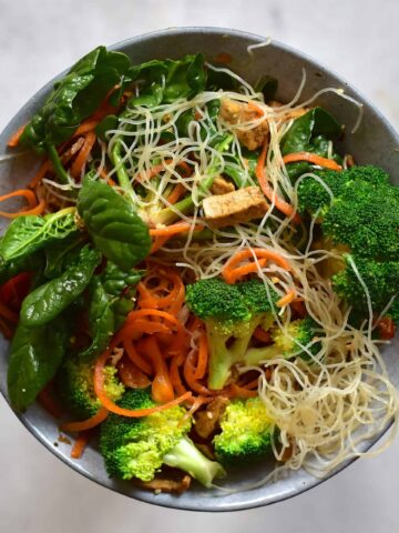 Thai noodle salad in bowl