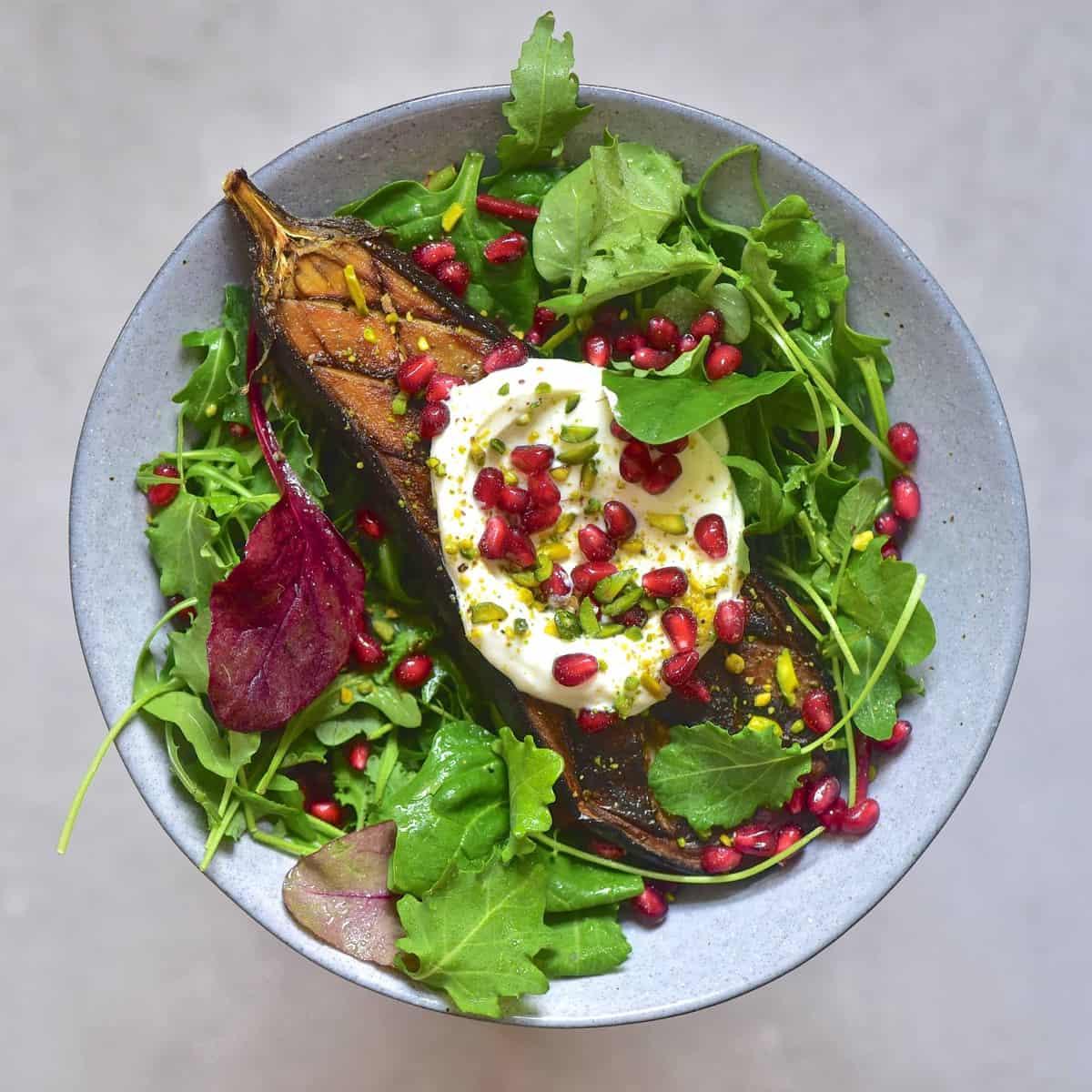 square aubergine salad