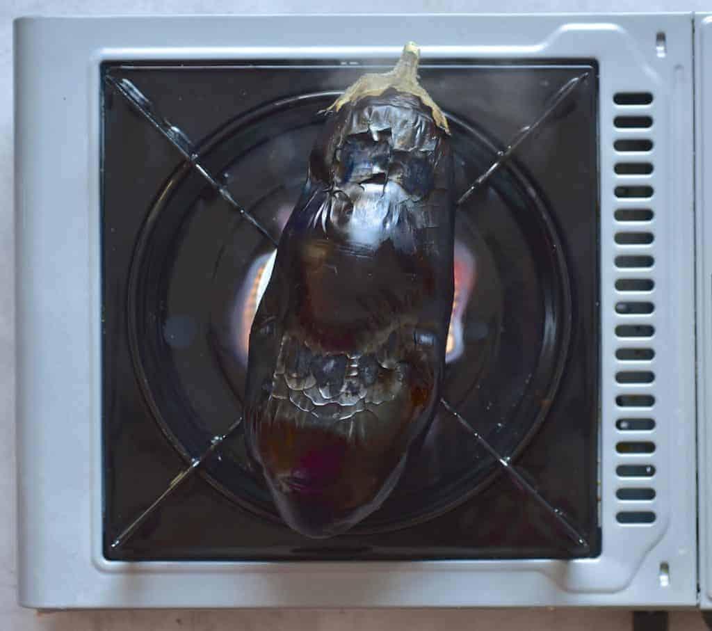 charring eggplant aubergine