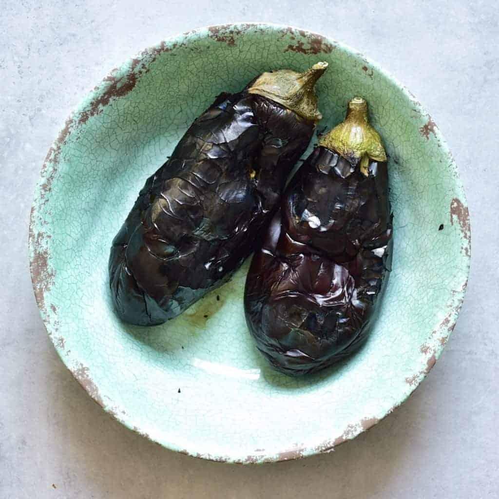 charred eggplants aubergines