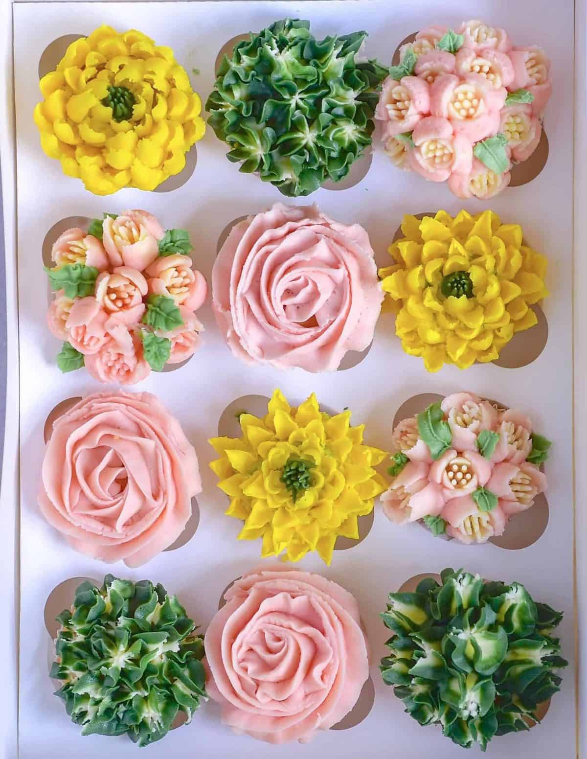 frosted floral cupcakes organic eggs flowers buttercream