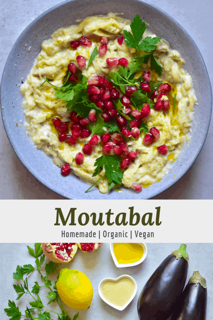 Vegan moutabal aubergine dip with pomegranate and parsely