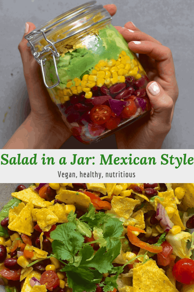 Mexican inspired salad in a jar with tortilla chips, salsa and guacamole. Deconstructed nacho taco salad