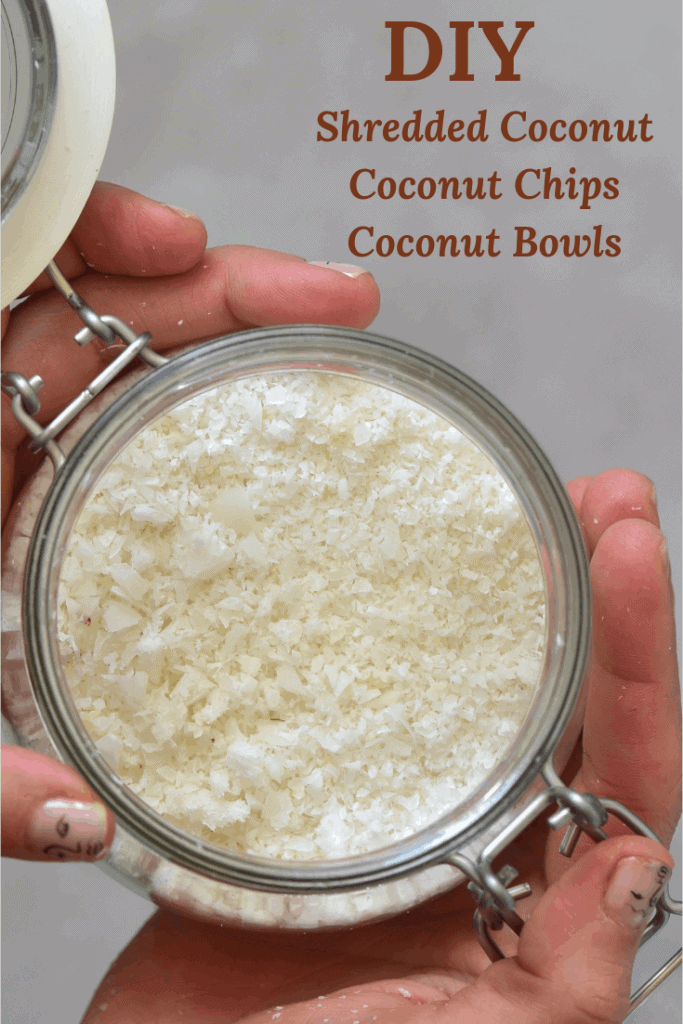 diy shredded coconut ( desiccated coconut), coconut chips, coconut bowls,