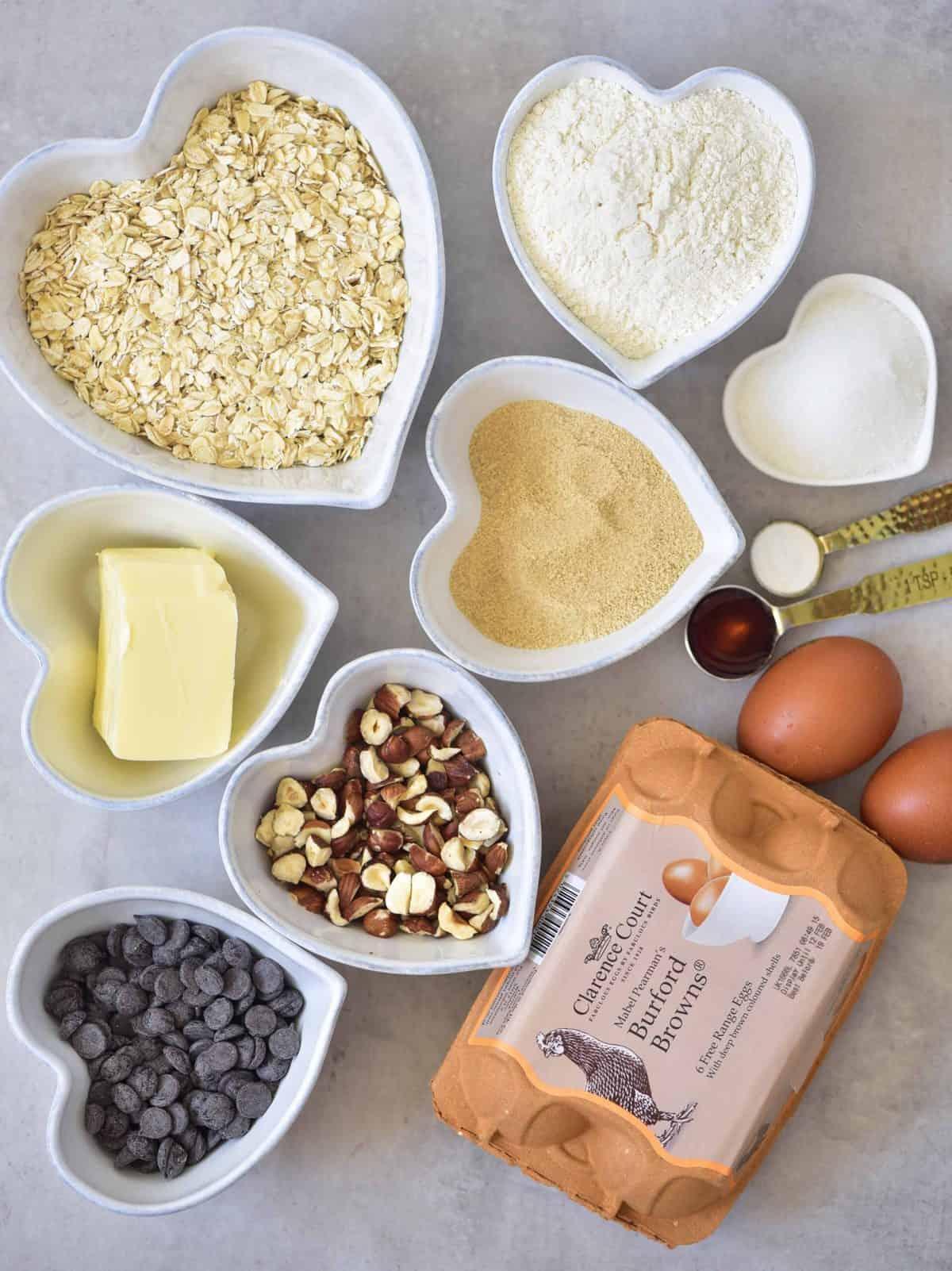 oats eggs hazelnut cookie recipe ingredients