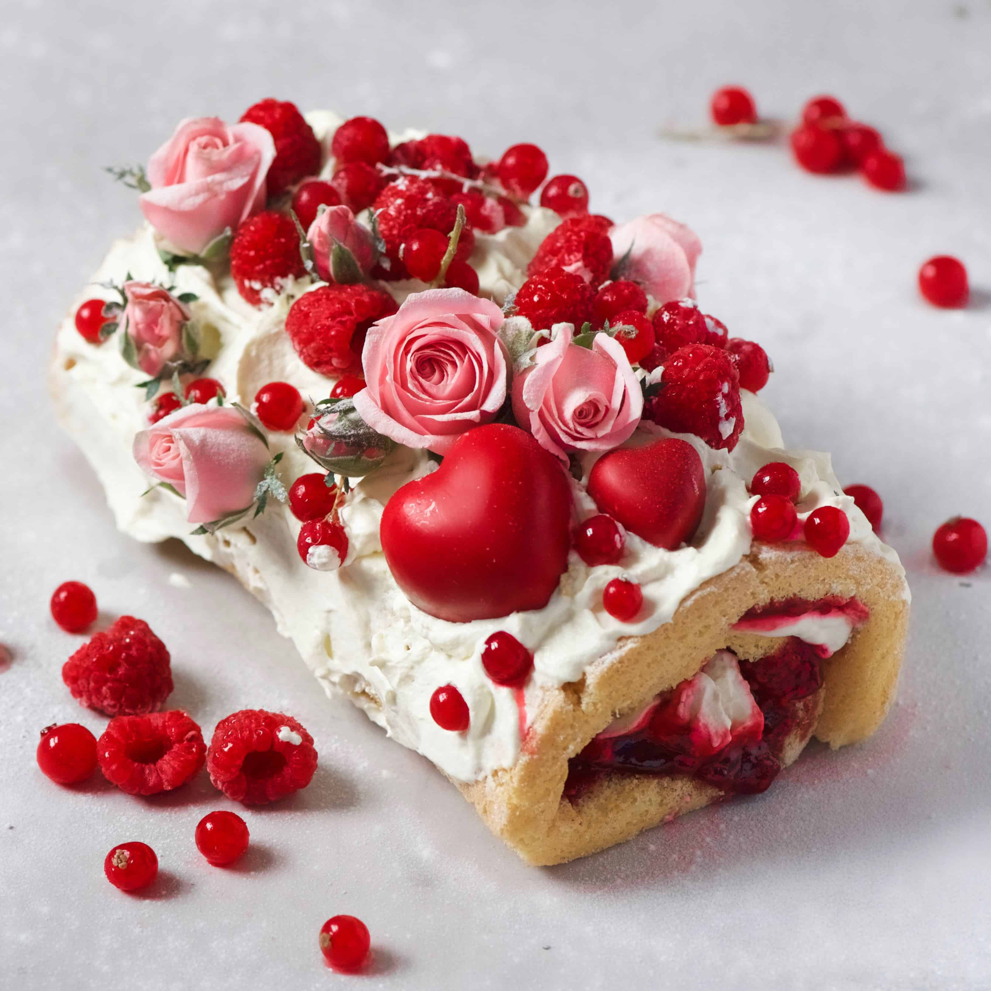 rasberry and lemon swiss roll with coconut cream