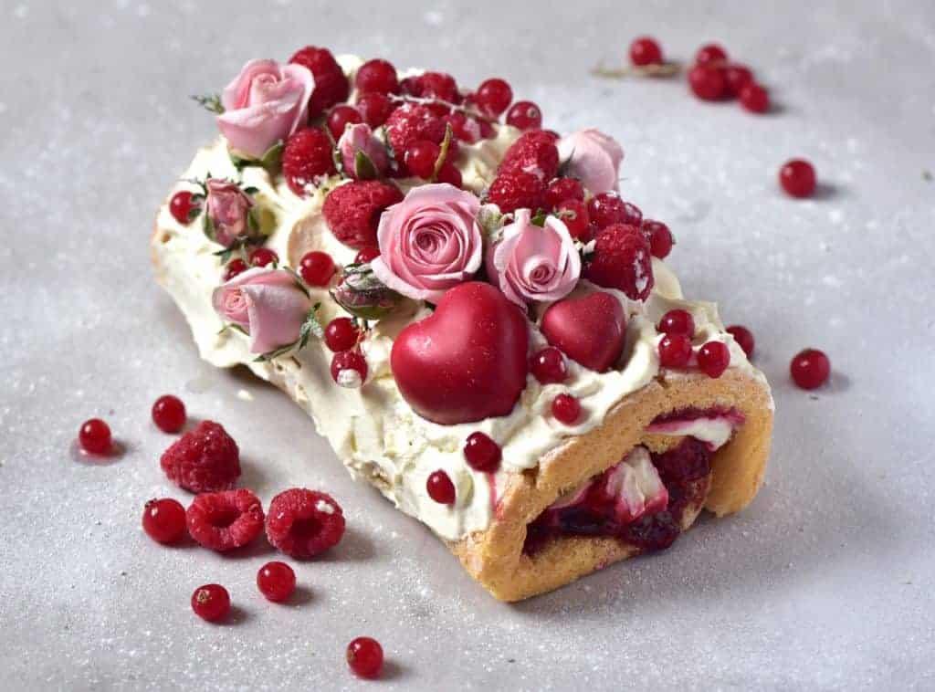 rasberry and lemon swiss roll with coconut cream