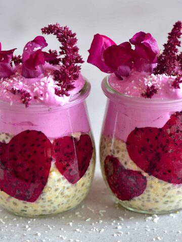Overnight oats and dragon fruit in a jar