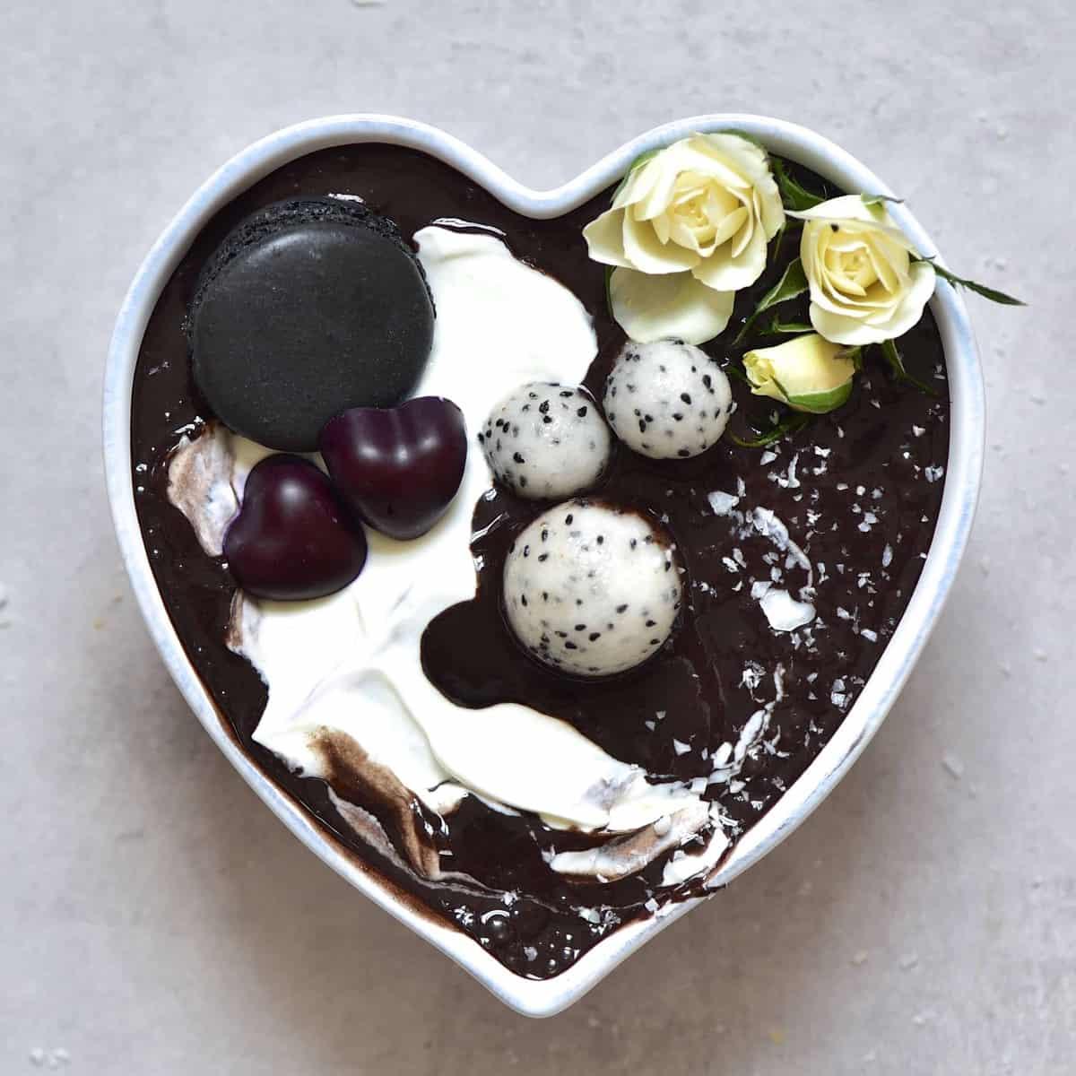 Black cacao smoothie with yogurt