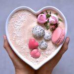 Raspberry smoothie bowl. 5 minute breakfast, healthy, vegetarian, pink food