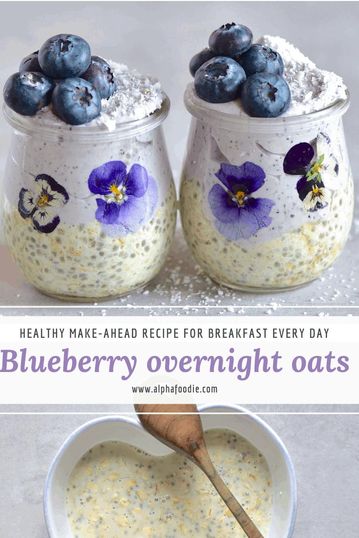 blueberry overnight oats with blueberry yogurt
