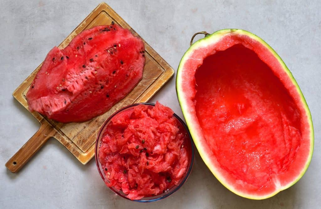Watermelon flesh removed from watermelon
