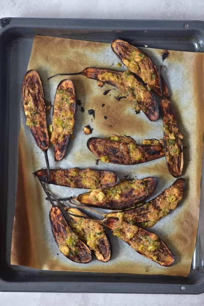 Miso-glazed aubergines