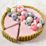 Strawberry rose tart . vegan , dairy-free, non-dairy, no-bake