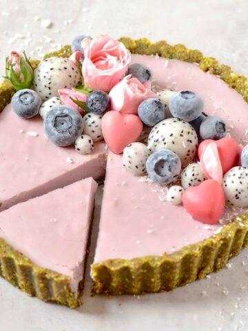 Strawberry rose tart . vegan , dairy-free, non-dairy, no-bake