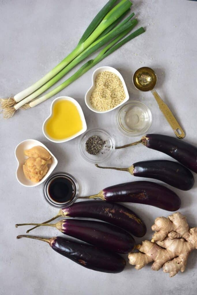Miso-glazed aubergines - ingredients
