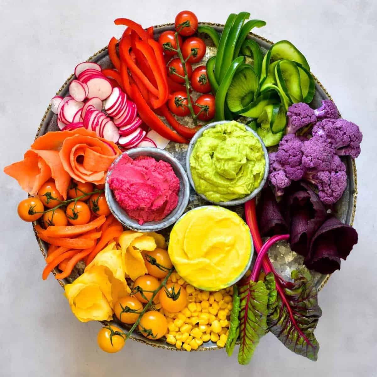 Rainbow Veggie Platter with 3 Hummus dips