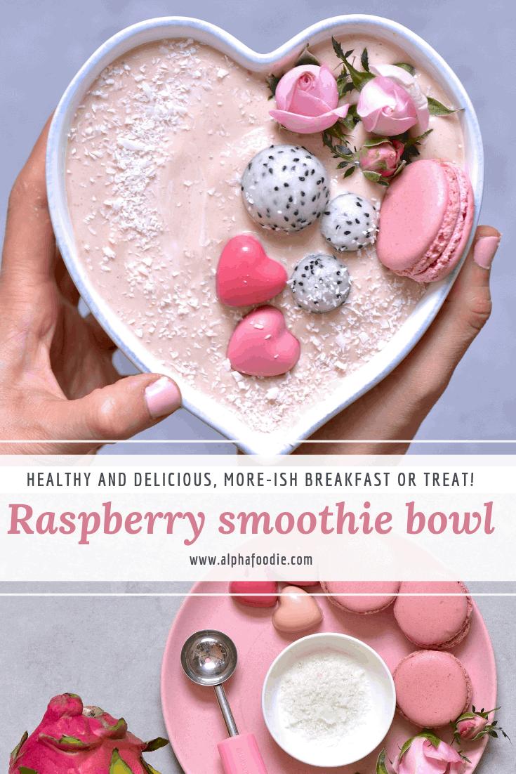 Pink raspberry smoothie bowl