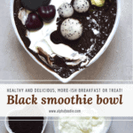black smoothie bowl with black cacao powder