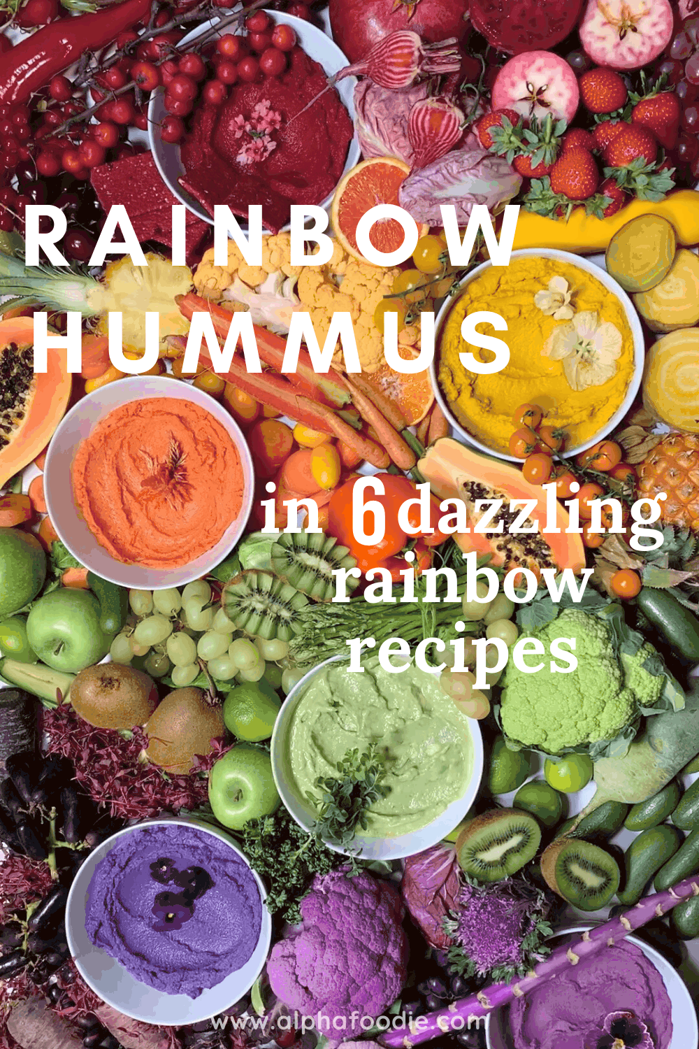 rainbow hummus varieties with rainbow veggies