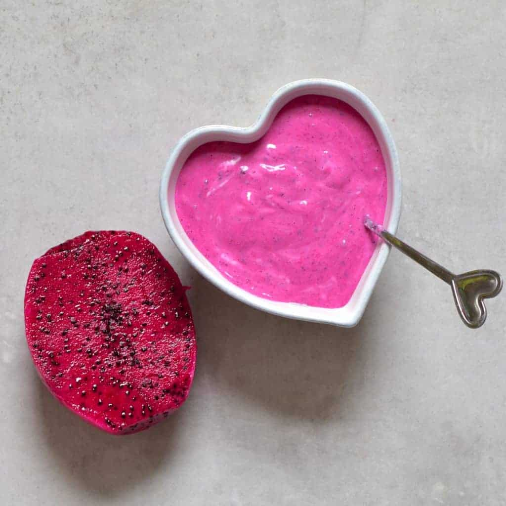 Pink dragonfruit and yogurt