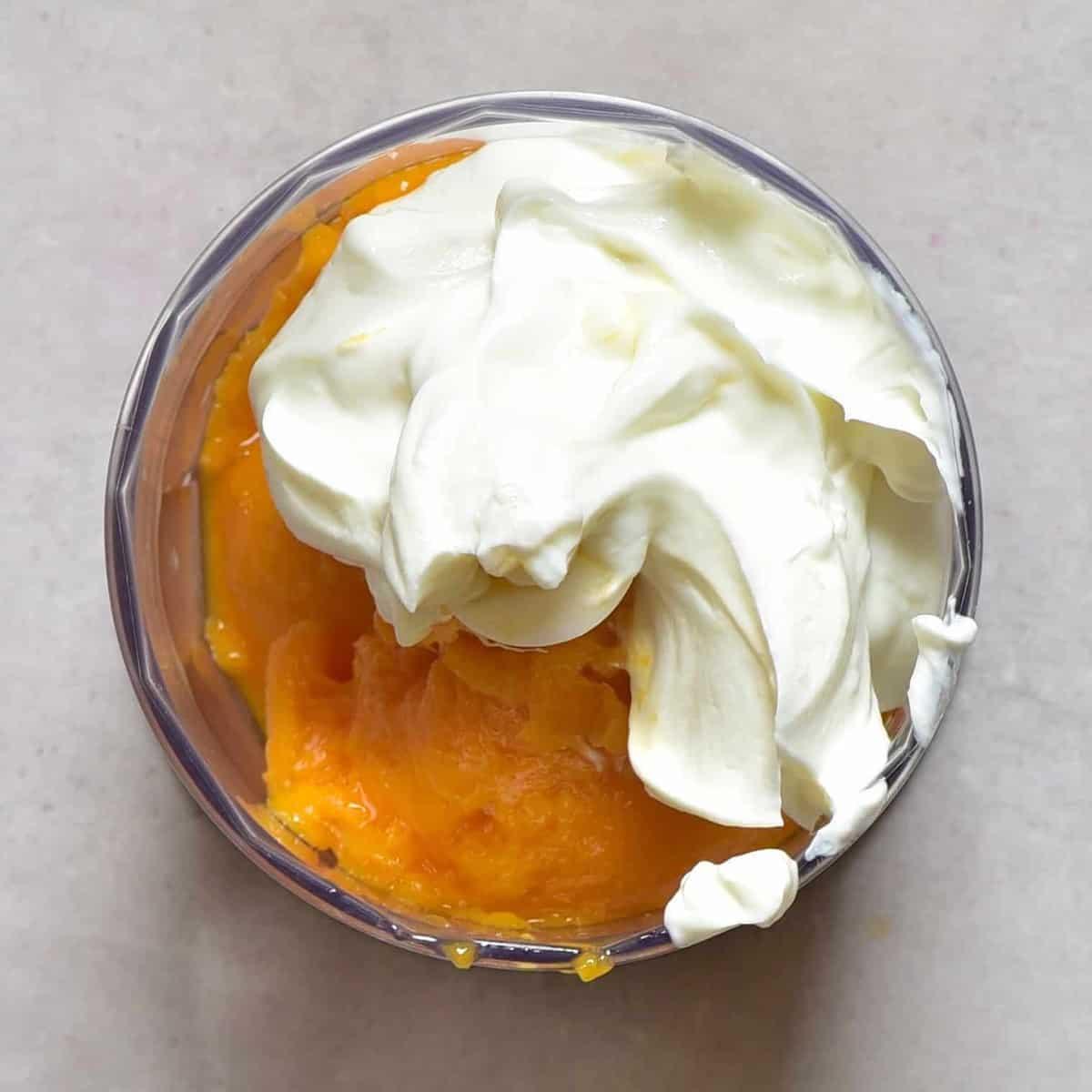 Yogurt and Mango ready to mix for a yummy breakfast
