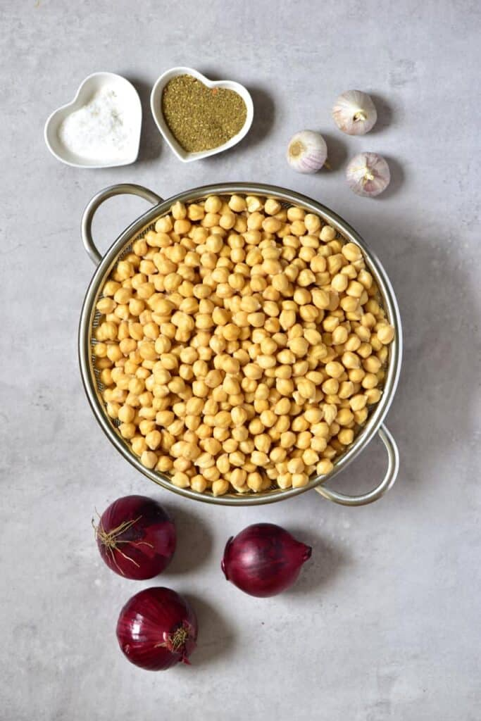 Ingredients for making falafel