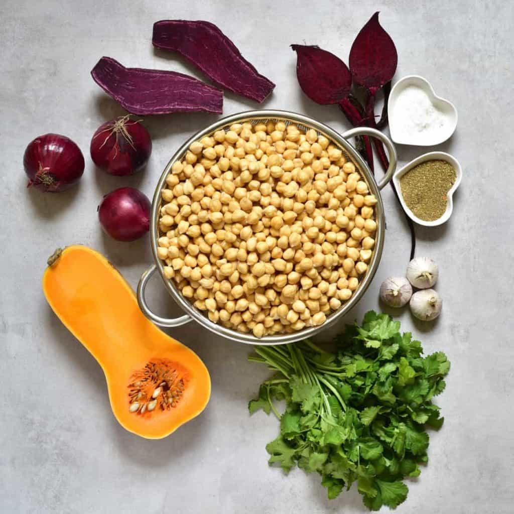 Ingredients for making rainbow coloured vegan falafels