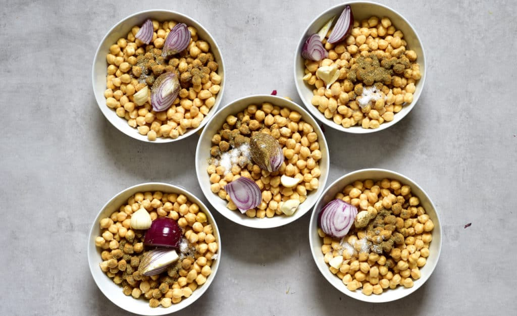 chickpeas in bowls with spices