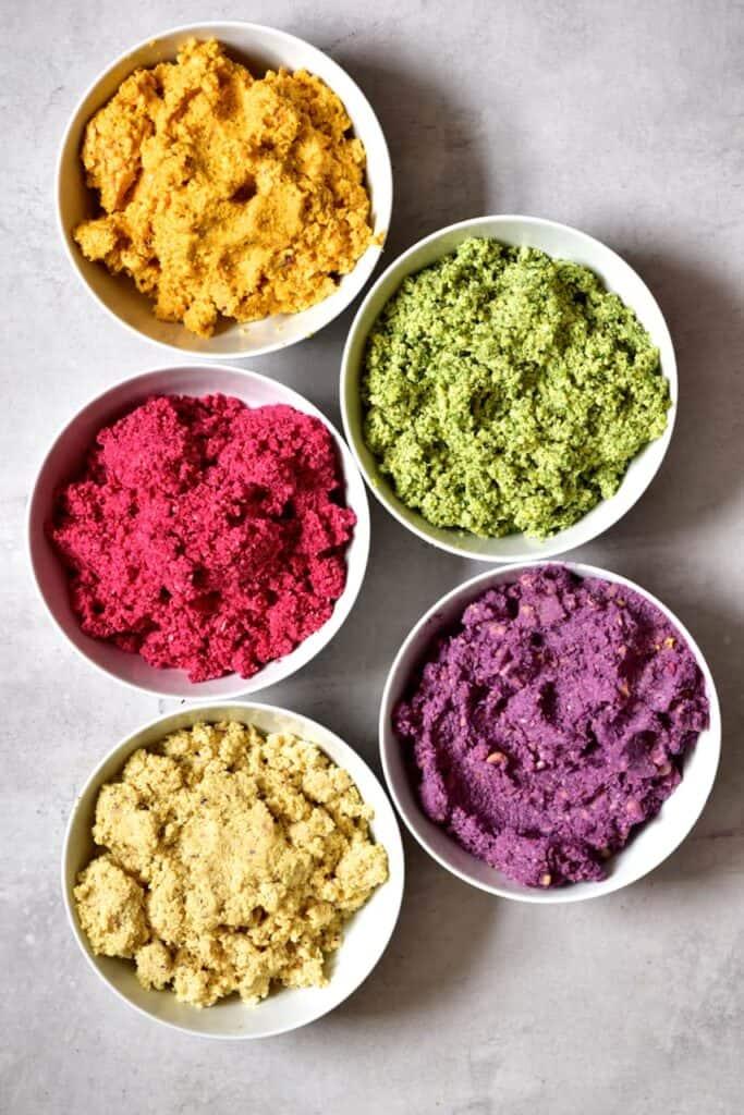 Falafel paste in 5 rainbow colours