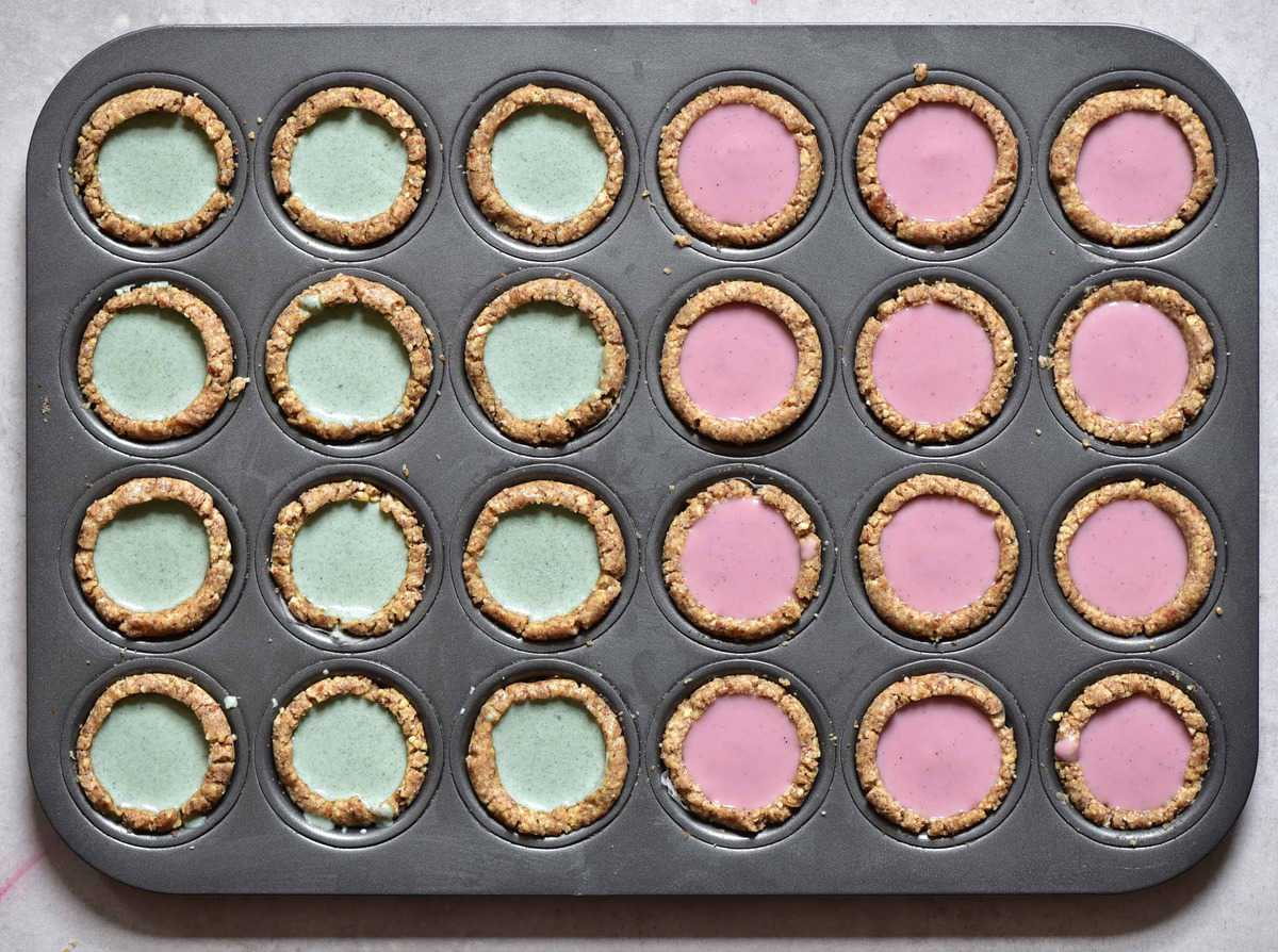 bite-sized Mini Vegan Tarts two ways: Raspberry-rose OR Mint for vegan afternoon tea