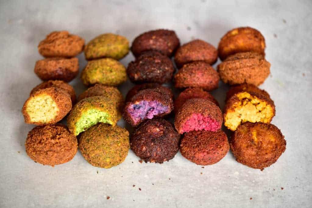 Rainbow falafel as part of a mezze platter