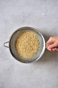 Short grain brown rice - make sure to rinse it well
