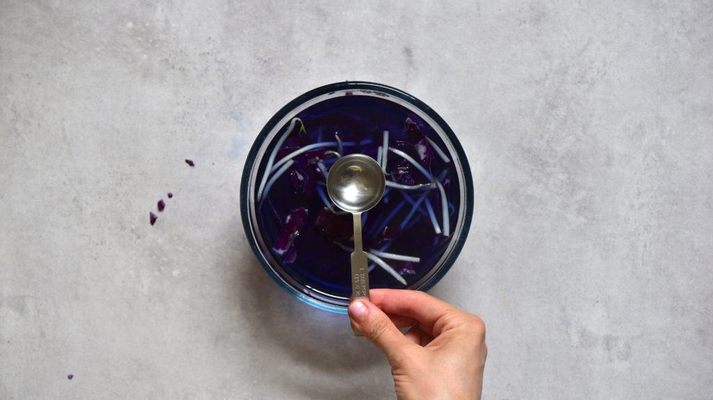 How to taint mung bean sprouts with red cabbage and white vinegar