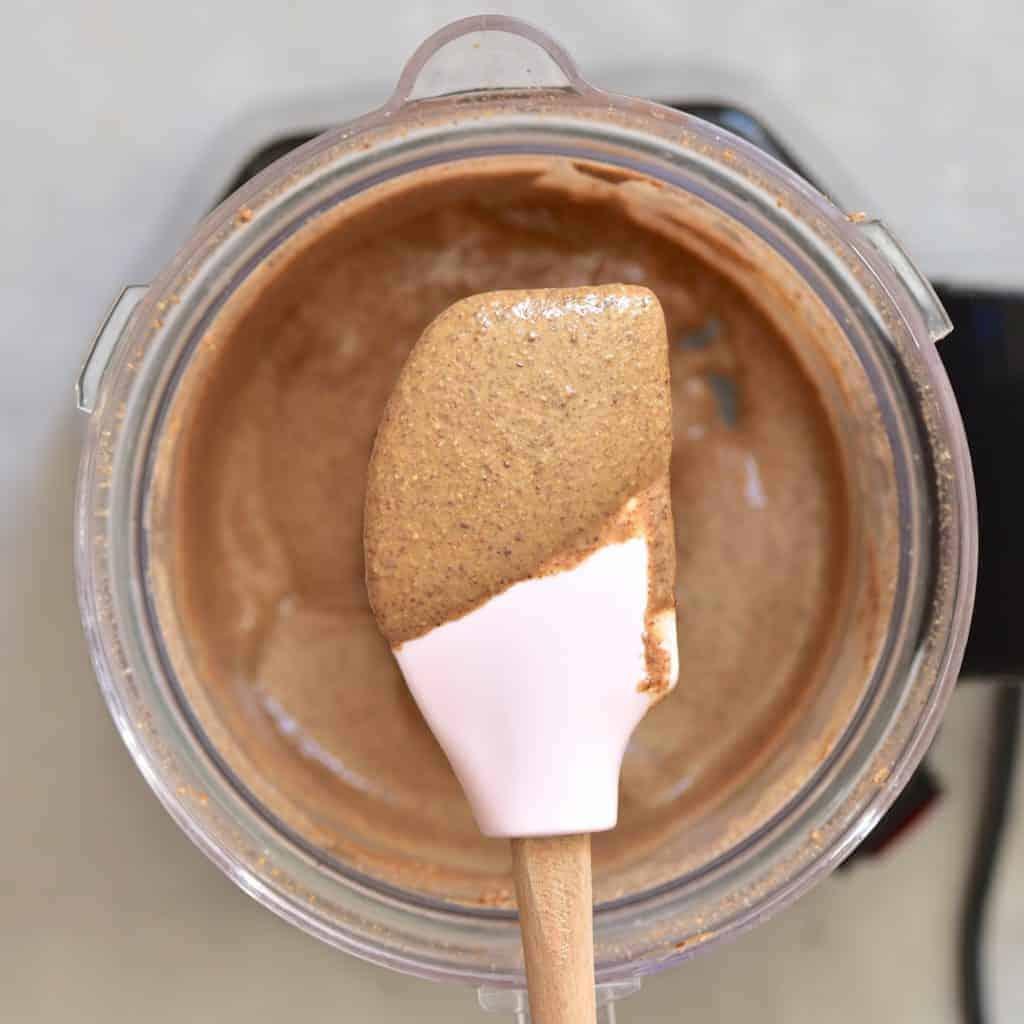 almond butter on a spatula