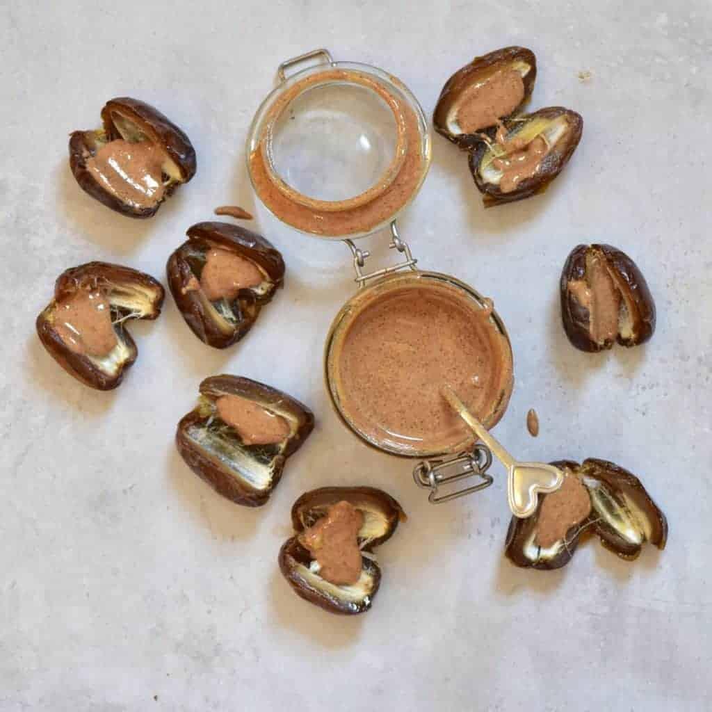 almond butter inside a date