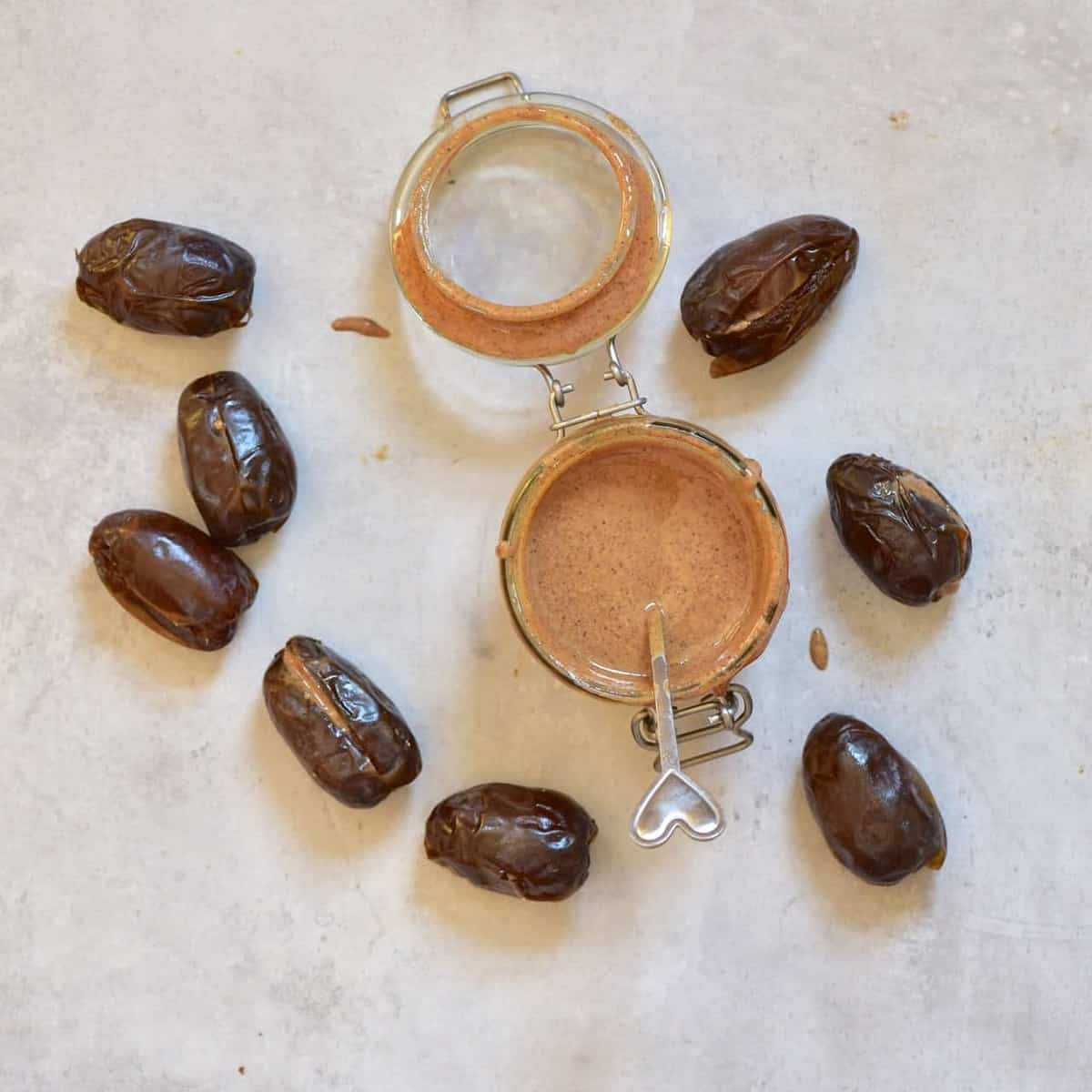 stuffed almond butter dates