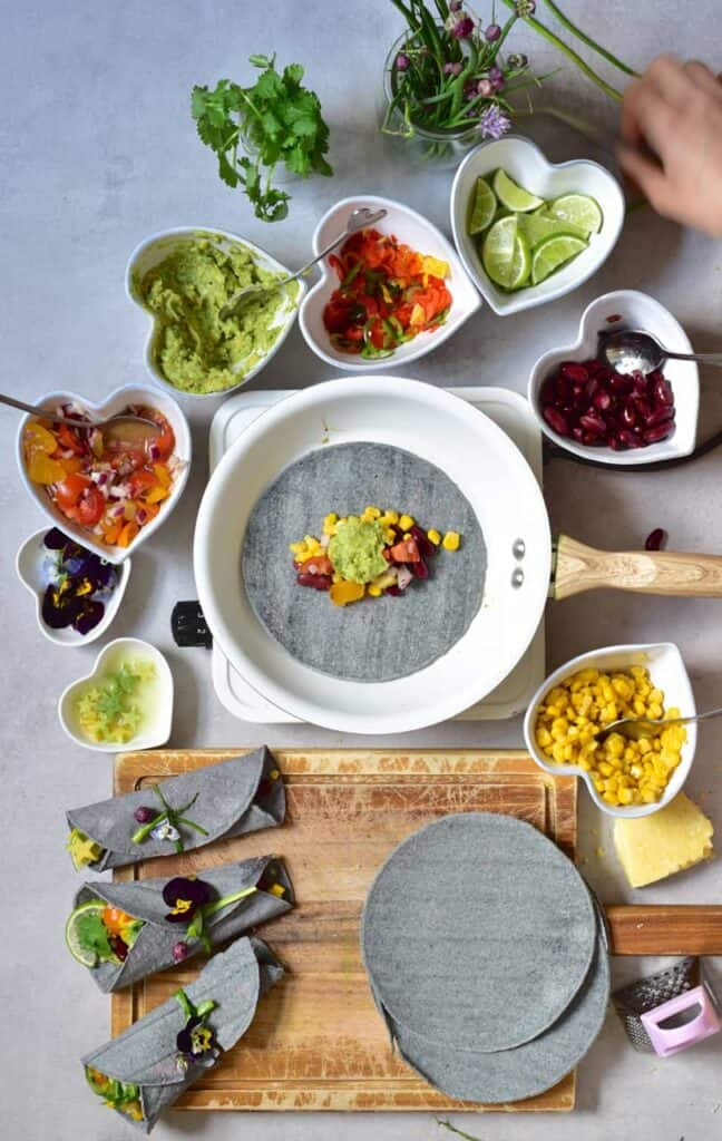 veggie-loaded rainbow vegan tacos with home-made salsa. perfect for healthy lunch or dinner