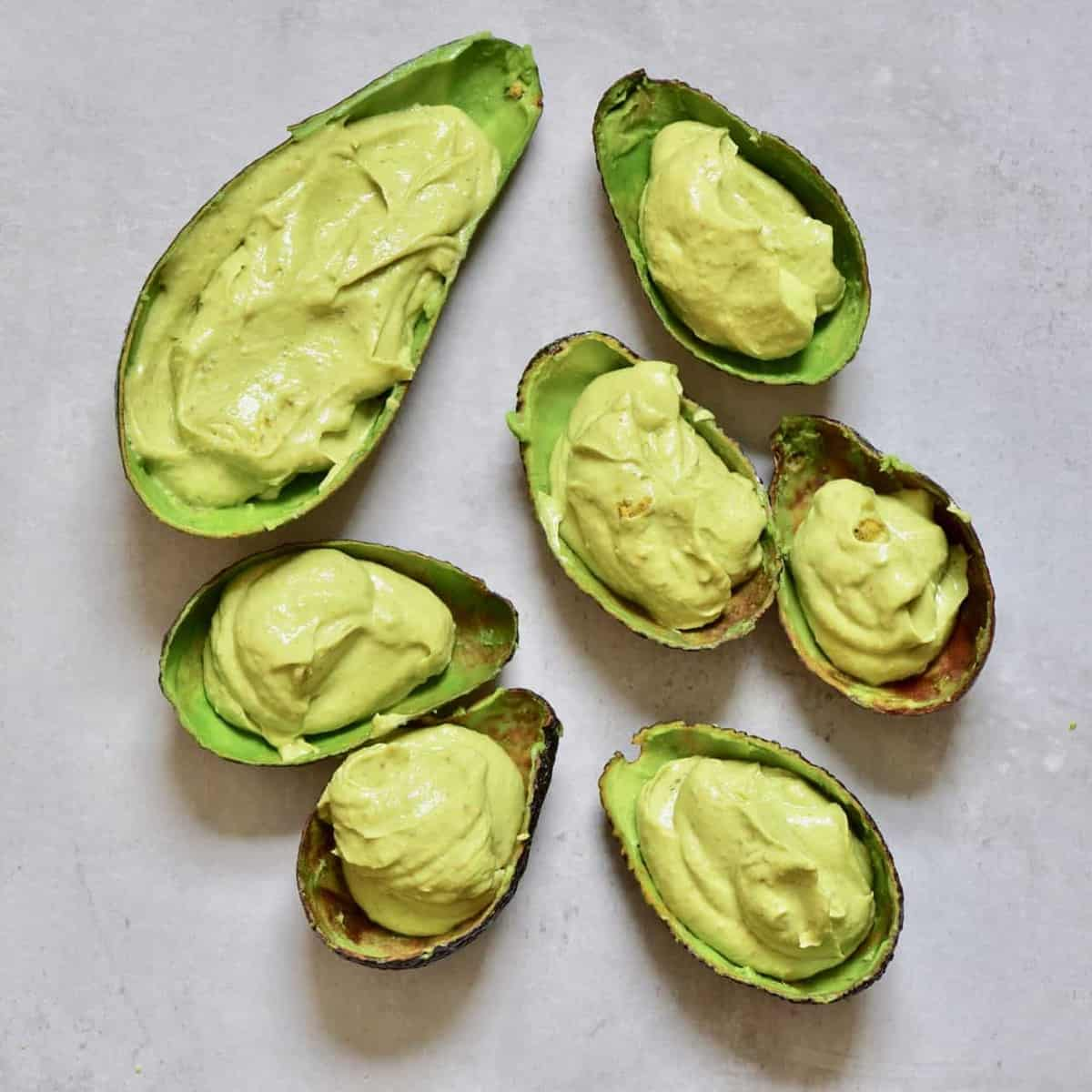 Avocado ice cream in avocado shells