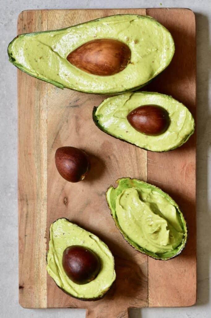 Avocado mixture served in avocado shells