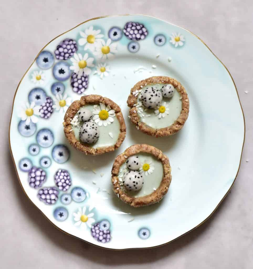 mint bite-sized mini vegan tarts on alphafoodie royal albert tea set for vegan afternoon tea