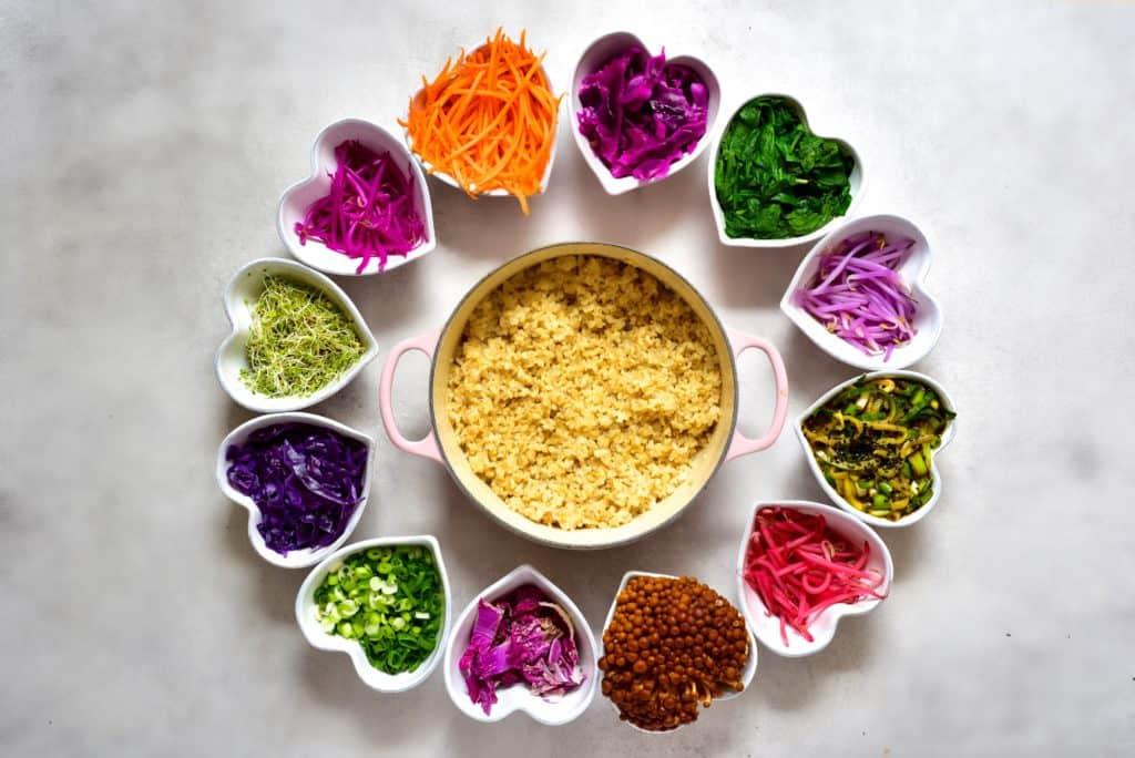 Rainbow veggies and brown rice