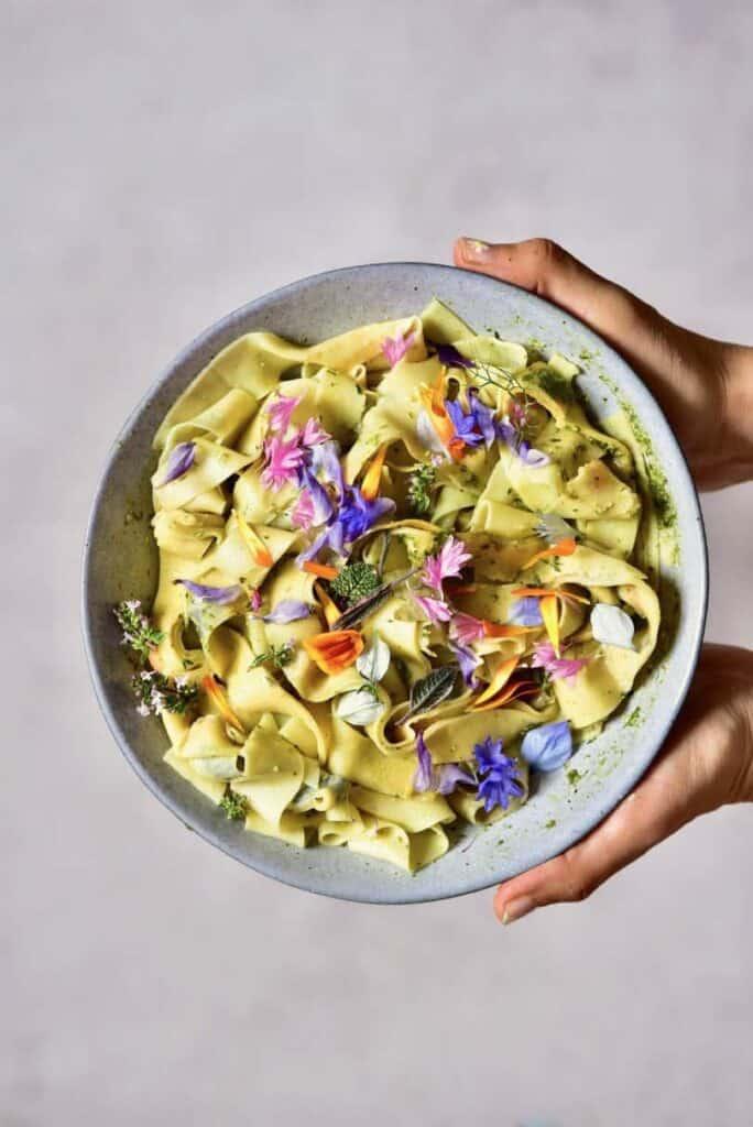Homemade Floral Pasta with Basil Pesto
