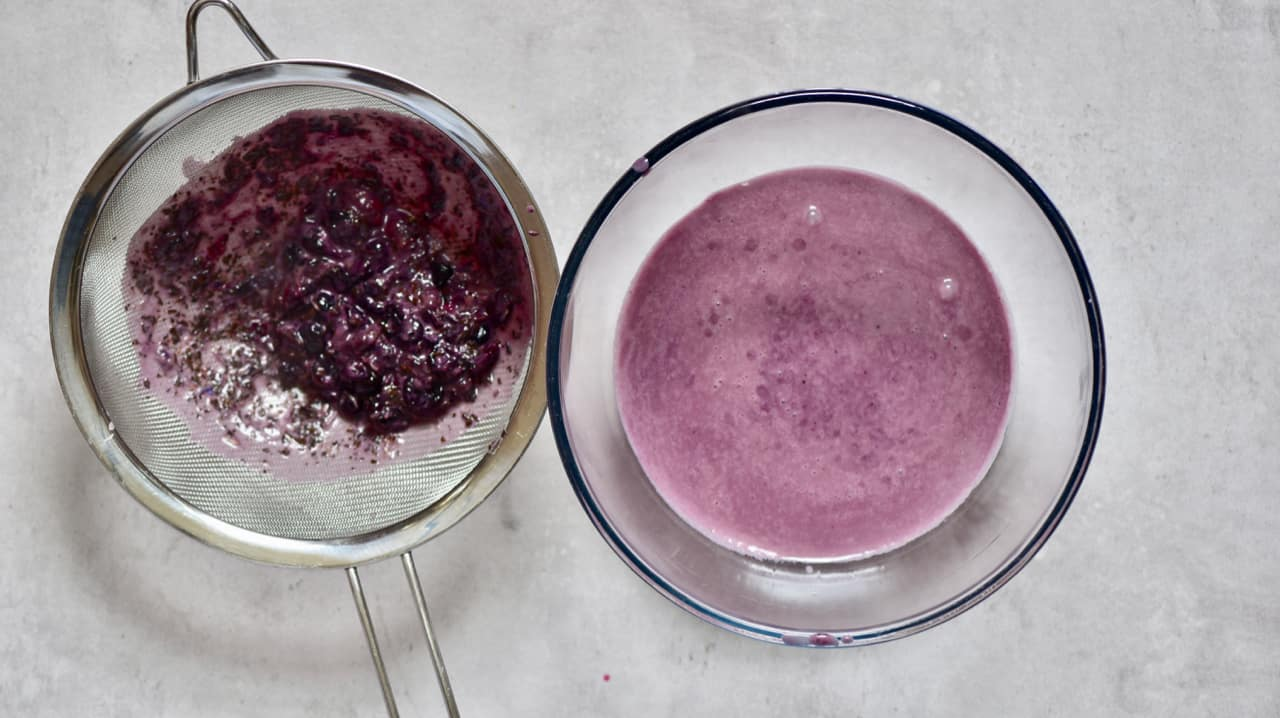 sieved blueberry and earl grey tart mixture