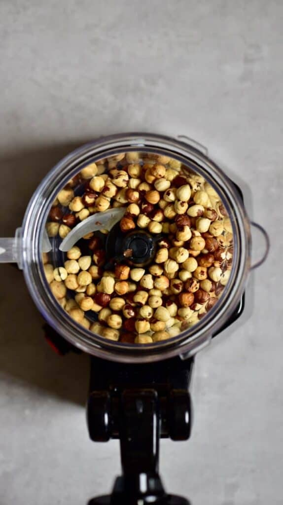 Hazelnuts in a blender