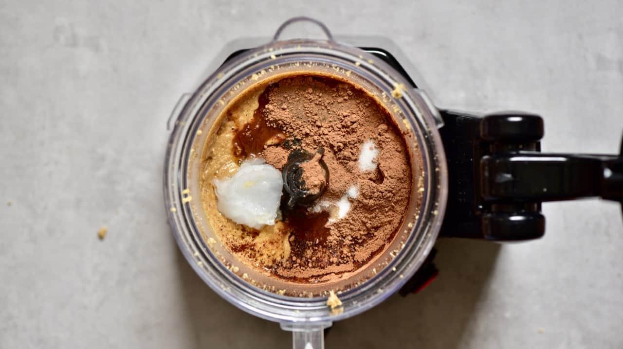 making vegan homemade nutella spread with hazelnuts