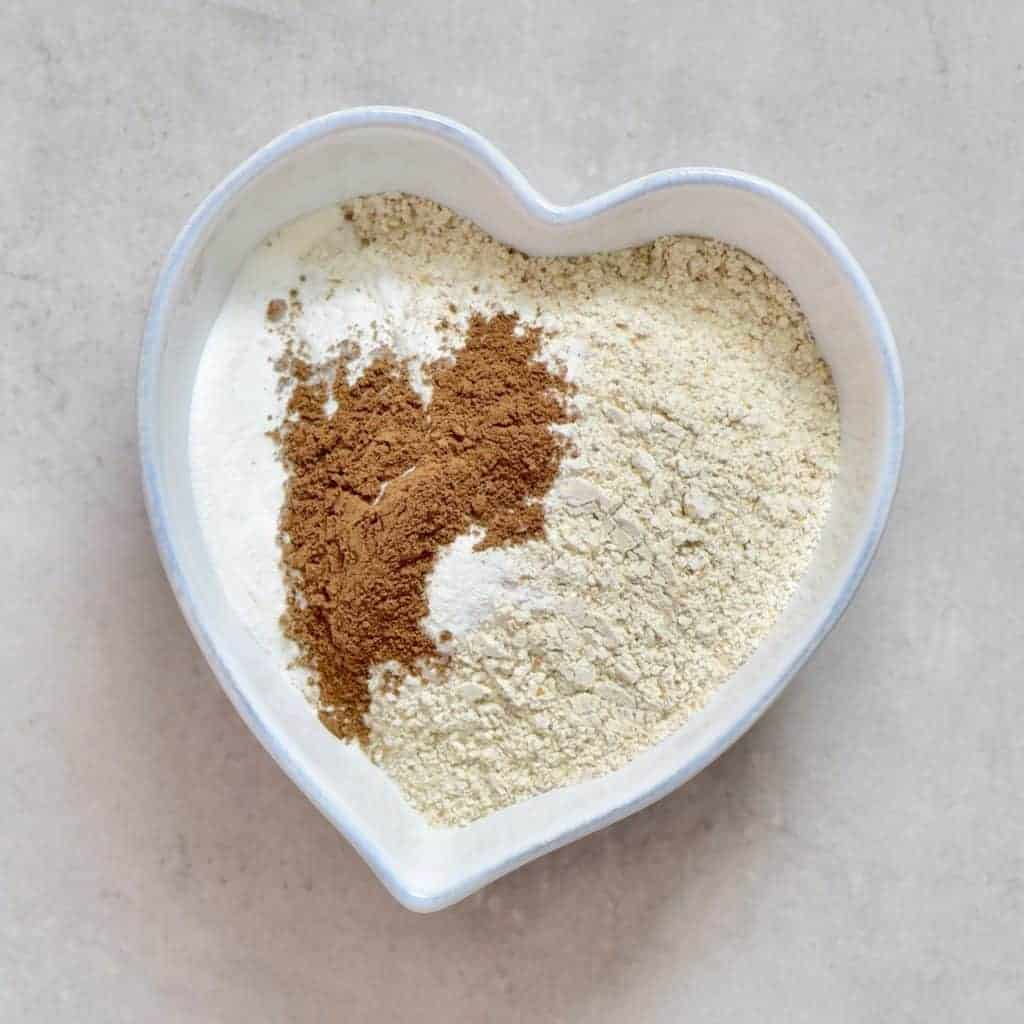 mixing flour with spices