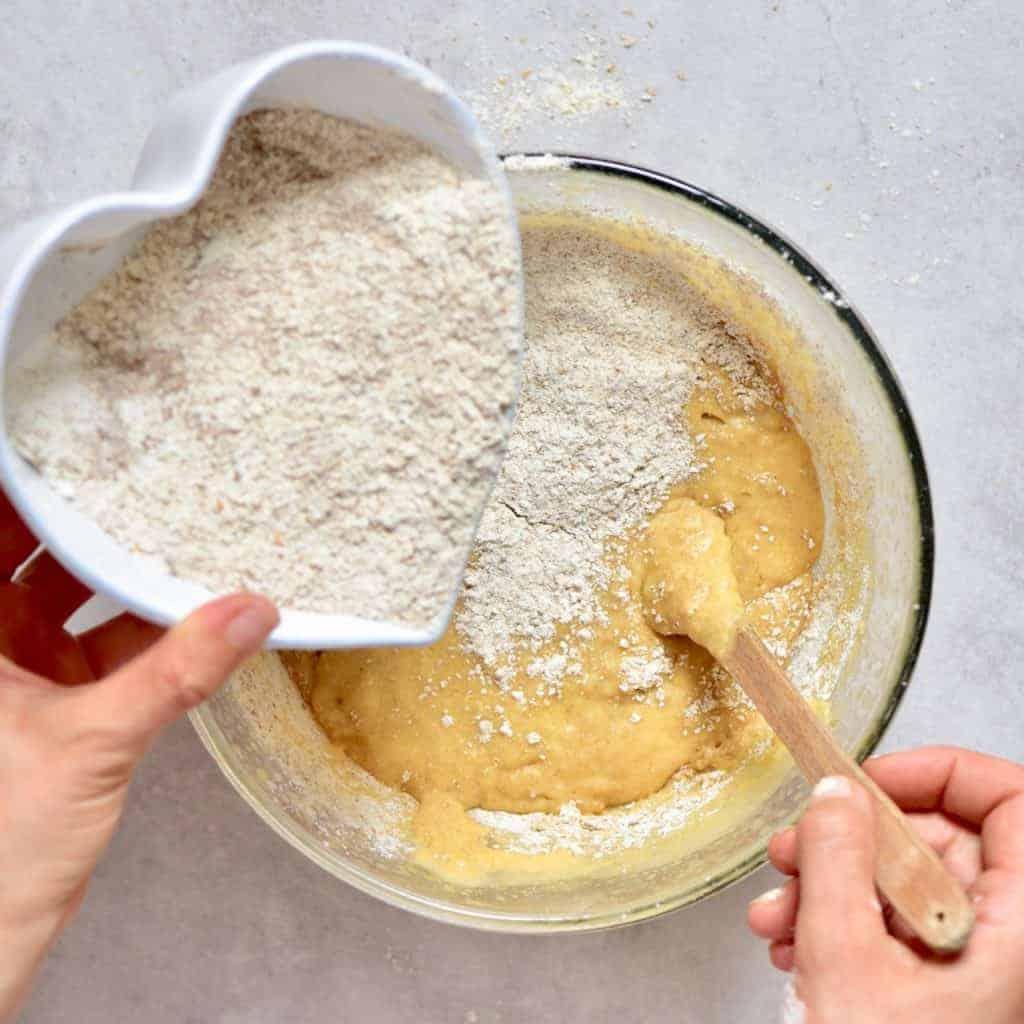 Adding flour to batter