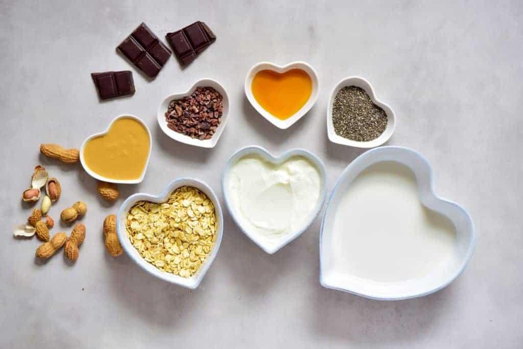 healthy dessert inspired cookie dough overnight oats ingredients
