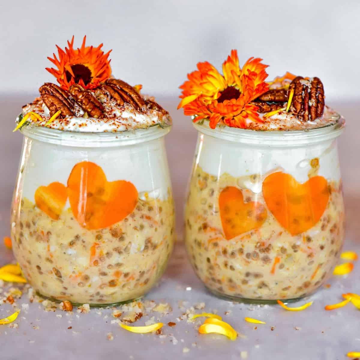 carrot cake overnight oats jars